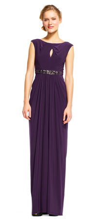Draped Jersey Dress with Embellished Waist and Keyhole