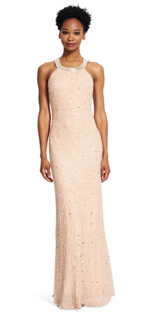 Caviar sheer back beaded gown