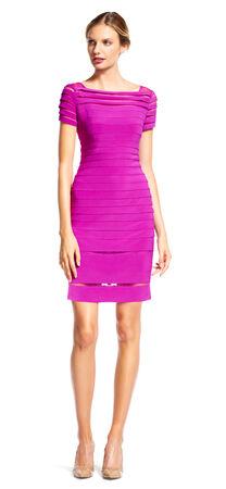 Sheer Banded Short Sleeve Sheath Dress