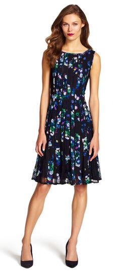 Floral Spliced Fit & Flare Dress