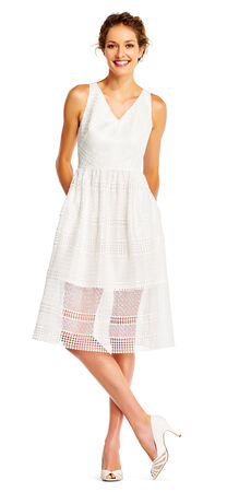 Crochet Lace Midi Dress with Striped and Sheer Details