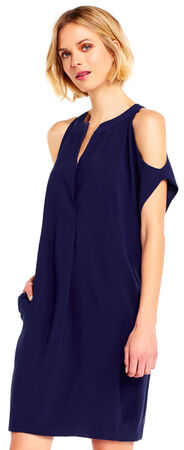 Gauzy Crepe Shift Dress with Cold Shoulder Cutouts