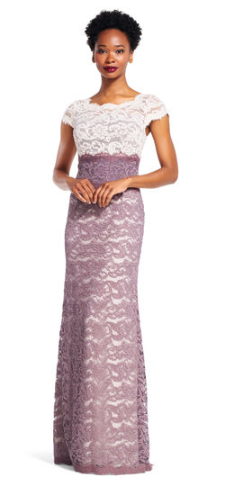Short Sleeve Colorblock Lace Mermaid Gown $199.00 AT vintagedancer.com
