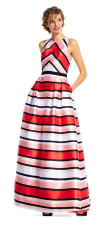 Stripe Mikado Dress with Ball Skirt