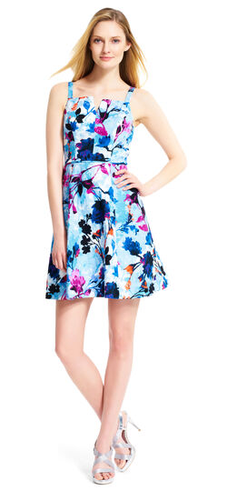 Floral Jacquard Fit and Flare Dress