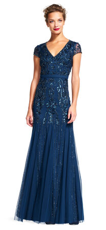 Cap Sleeve Beaded Gown