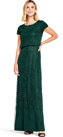 Short Sleeve Beaded Blouson Gown