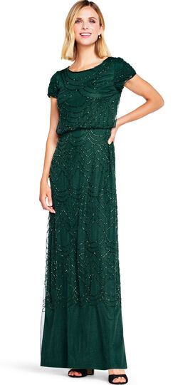Downton Abbey Inspired Dresses Short Sleeve Beaded Blouson Gown $209.00 AT vintagedancer.com