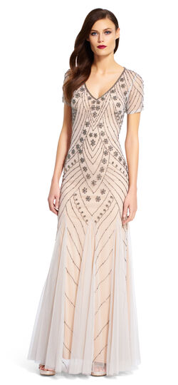 Short Sleeve V-Neck Beaded Gown $157.05 AT vintagedancer.com