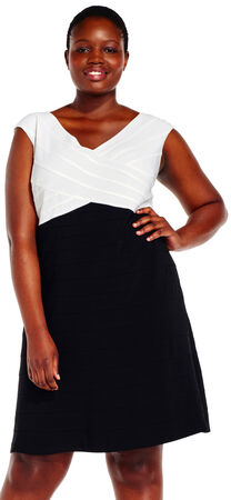 Banded Colorblock Sheath Dress with V-Neck