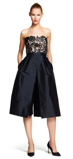Strapless Lace and Taffeta Jumpsuit