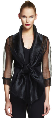 Organza wrap jacket with tie front collar