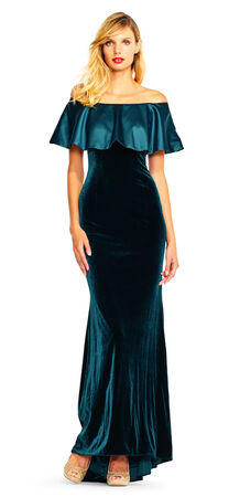 Off The Shoulder Velvet Gown with Charmeuse Ruffle Popover