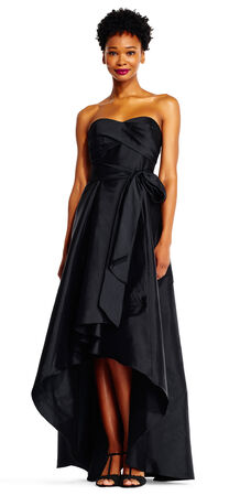 Strapless Twist Front Bodice Taffeta Ball Gown With High Low Hem