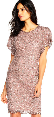 Sequin Beaded Cocktail Dress with Flutter Sleeves and Scallop Trim