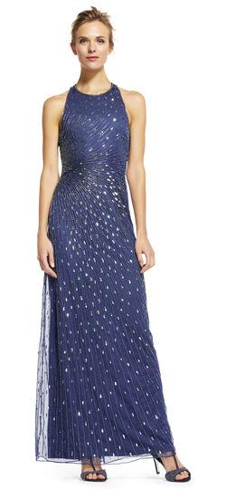 Halter Beaded Dress with Starburst Beading