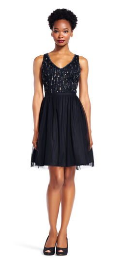 Sleeveless Beaded Cocktail Dress with Tulle Skirt