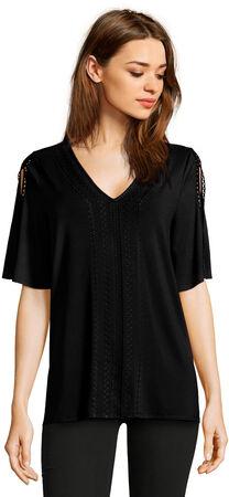 Embroidered V-Neck Top with Split Flutter Sleeves