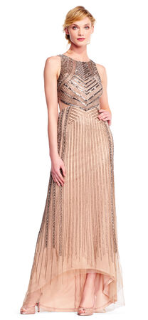 Art Deco Beaded Halter Gown with Cutout Sides and Sheer Accents