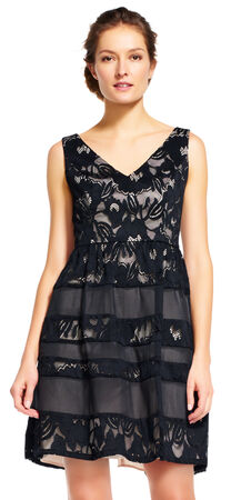 Embroidered Lace Fit and Flare Dress with Cutout Back