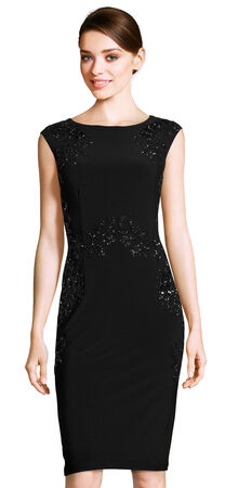 Cap Sleeve Sheath Dress with Filigree Beaded Accents