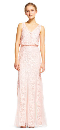 V-Neck Lace Blouson Dress with Godet Skirt