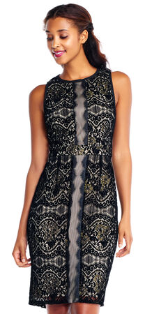 Sleeveless Lace Sheath Dress with Metallic and Illusion Scalloped Details