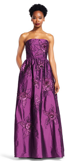 Strapless Silky Taffeta Ball Gown with Floral Beading