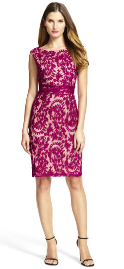 Lace Sheath Dress with Nude Lining