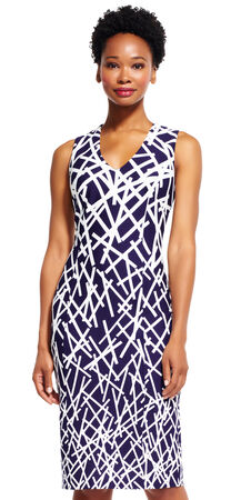 Stick Print Sheath Dress with V-Neck