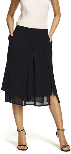 Gauzy Tiered Hem Crepe Skirt