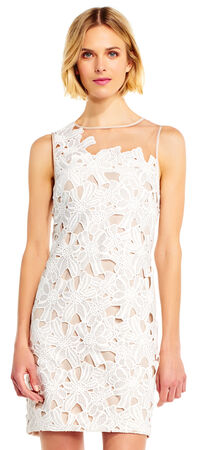 Floral Embroidered Lace Sheath Dress with Illusion Neckline