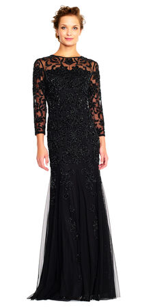 Sheer Three Quarter Sleeve Beaded Gown with Godet Skirt