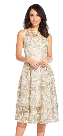 3D Floral Metallic Lace Fit and Flare Midi Dress with Sheer Details