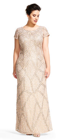 Short Sleeve Geometric Sequin Beaded Dress with Scoop Back