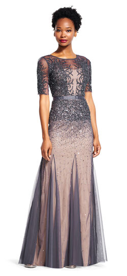 Beaded Godet Gown with Sheer Sleeves and Neckline