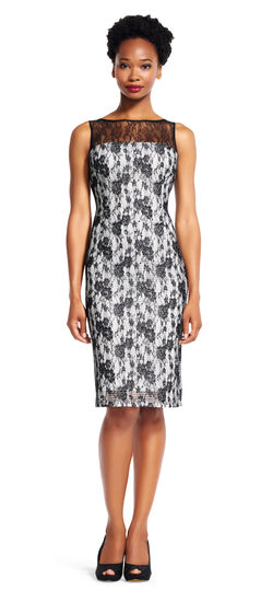 Sheer Lace Sheath Dress with Illusion Neckline