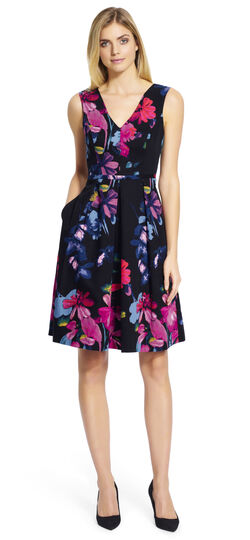 Floral Pleated Fit and Flare Dress