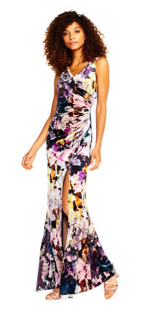 Floral Printed Velvet Mermaid Gown with Slit Skirt