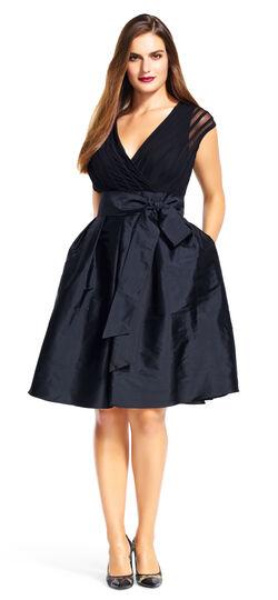 Sheer Short Sleeve Tafetta Dress with Banded Bodice