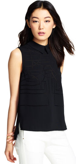 Laser Cut Shirt Collar Sleeveless Top