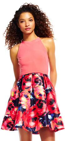 Halter Fit and Flare Dress with Painted Floral Skirt