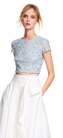 Cap Sleeve Sequin Crop Top
