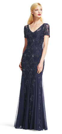 Bead Embroidered Godet Dress with Sheer Short Sleeves
