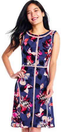 Watercolor Floral Fit and Flare Dress with Illusion Contouring Cutouts