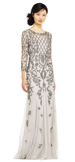 Downton Abbey Inspired Dresses Three Quarter Sleeve Beaded Godet Gown with Illusion Details $349.00 AT vintagedancer.com
