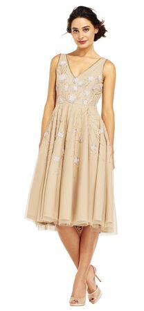 Beaded Floral Bloom Midi Dress