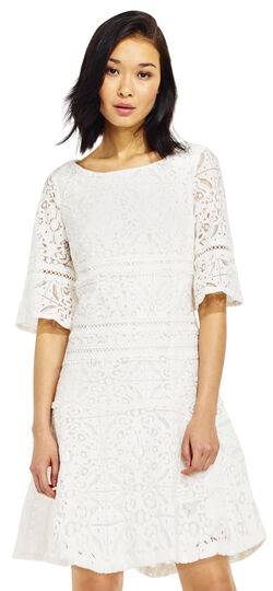 Lace Shift Dress with Flounce Skirt and Bell Sleeves