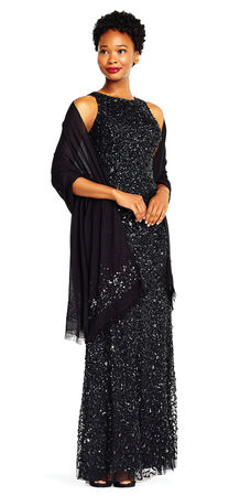 Semi-Sheer Pashmina Shawl with Beaded Accents