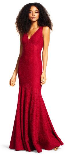 ModernVintageEveningDressesandFormalEveningGowns Lace Mermaid Gown with Scalloped V-Back $289.00 AT vintagedancer.com